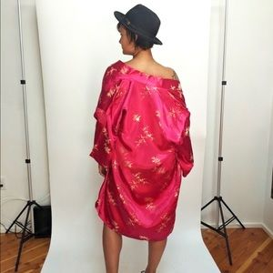 Vintage Bright Pink Satin Kimono Cover Up